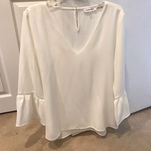 Calvin Klein white three quarter bell sleeve top